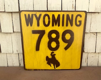 Wyoming 789 Wooden Highway Sign - Solid Wood Novelty Sign Yellowstone Scenic Road - Gallery Wall Hanging - Handmade Signs - Customizable