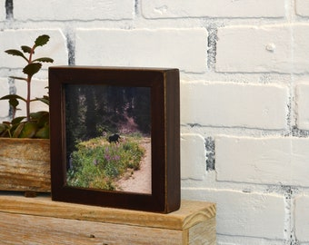 """5x5 inch Square Picture Frame in Deep Flat Style with Vintage Mahogany Finish - IN STOCK - Same Day Shipping - 5 x 5"""" Modern Frame"""