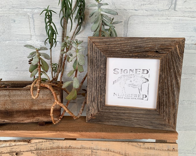 """Rustic Natural Reclaimed Cedar 4x4 Picture Frame in 1.5"""" wide style - IN STOCK - Handmade 4x4 Upcycled Wood Frame - Same Day Shipping"""