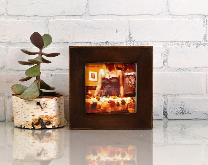 "5x5"" Picture Frame in 1.5 Standard Style  with Vintage Dark Wood Tone Finish - IN STOCK - Same Day Shipping - 5 x 5 Gift Frame Modern Brown"
