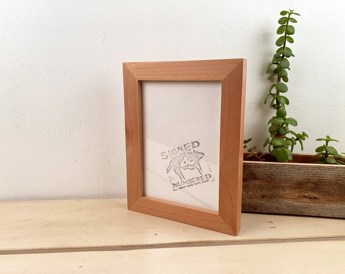 5x7 Picture Frame in 1x1 Flat Style in Solid Natural Alder - IN STOCK - Same Day Shipping - mid century decor 5 x 7 Photo Frame