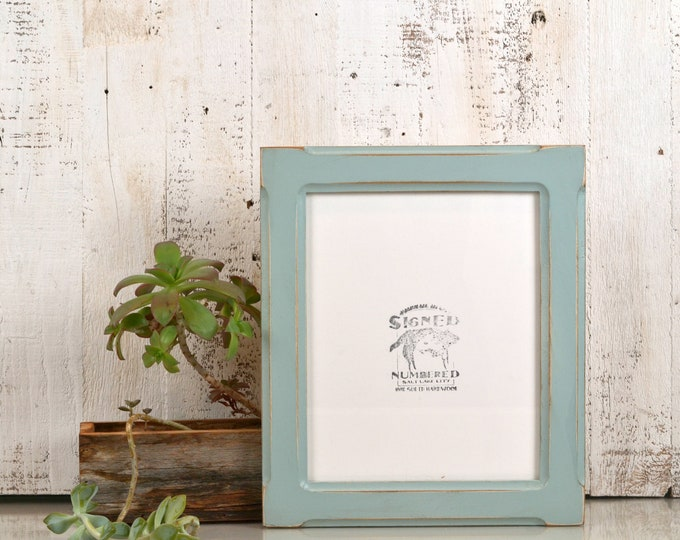 8x10 Picture Frame in Wide Bones Style  - Vintage Homestead Green Finish - IN STOCK - Same Day Shipping - Rustic Wood Frame 8 x 10""