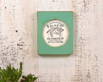 4x4 Pine Circle Opening Picture Frame in Vintage Robin's Egg - IN STOCK - Same Day Shipping - 4 x 4 inch Circle Round Picture Frame Green