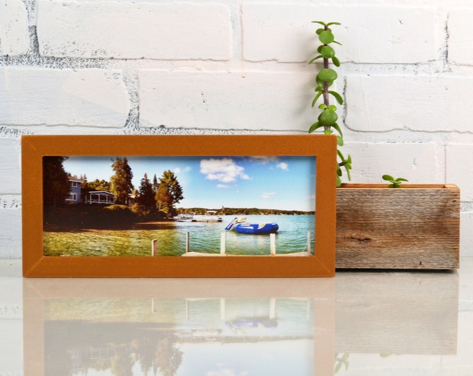 "4x10"" Picture Frame in Peewee Style with Solid Roman Gold Finish - IN STOCK  Same Day Shipping - 4 x 10 inch Panoramic Photo Frame"