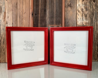 8x8 Square Picture Frame in Foxy Cove Style with Vintage Red Dye Finish - IN STOCK Same Day Shipping - 8 x 8 Photo Frame