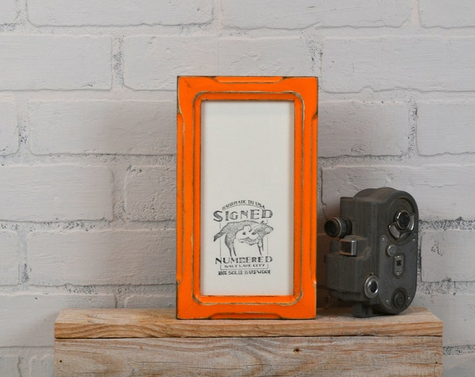 4x8 Picture Frame in 1x1 Shallow Bones Style with Vintage Orange Finish - IN STOCK - Same Day Shipping - Portrait or Landscape frames