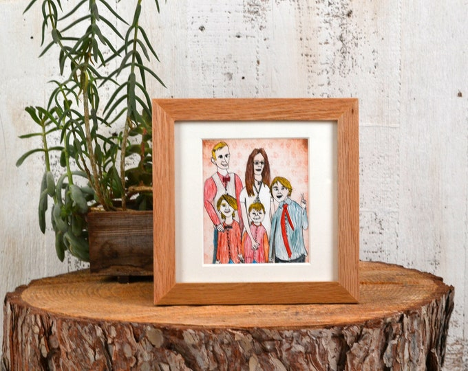 "6x6"" Picture Frame in PeeWee Style with Natural Oak Finish - IN STOCK - Same Day Shipping - Gallery Frame 6 x 6 Solid Oak"