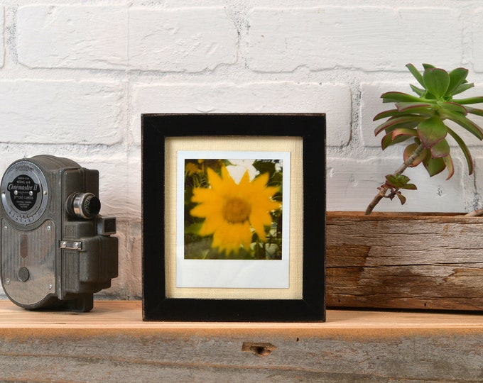 Picture Frame for Instant Camera Print in Peewee Style with Vintage Black Finish 4.75x5.5 inch Frame - IN STOCK - Same Day Shipping