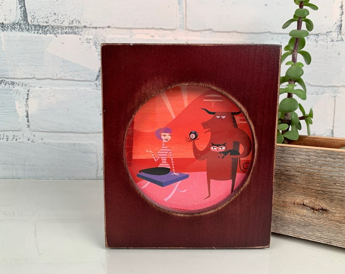 4x4 Pine Circle Opening Picture Frame in Super Vintage Mahogany - IN STOCK - Same Day Shipping - 4 x 4 inch Circle Round Picture Frame