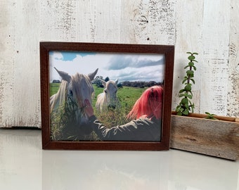 8x10 Picture Frame in Peewee Style with Vintage Dark Wood Tone Finish - IN STOCK - Same Day Shipping - 8x10 Photo Frame Solid Hardwood