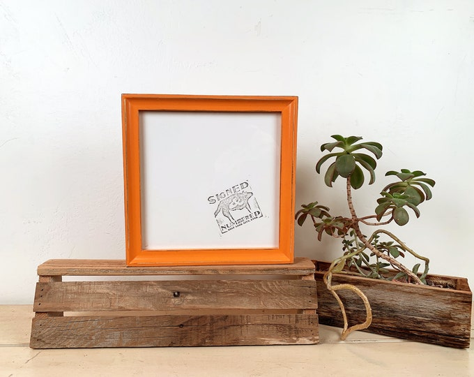8x8 Square Picture Frame in Foxy Cove Style with Vintage Orange Finish - IN STOCK Same Day Shipping - 8 x 8 Photo Frame