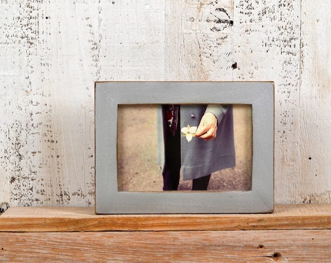 4x6 Picture Frame in 1x1 Flat Style with Vintage Silver Finish - IN STOCK - Same Day Shipping - 4 x 6 Photo Frame Rustic Metallic Finish