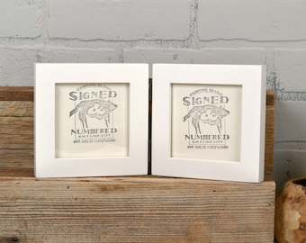 """Two 4x4"""" Square Picture Frames in 1x1 Flat Style Hinged Together in Color of Your Choice - Double Frame 4x4"""