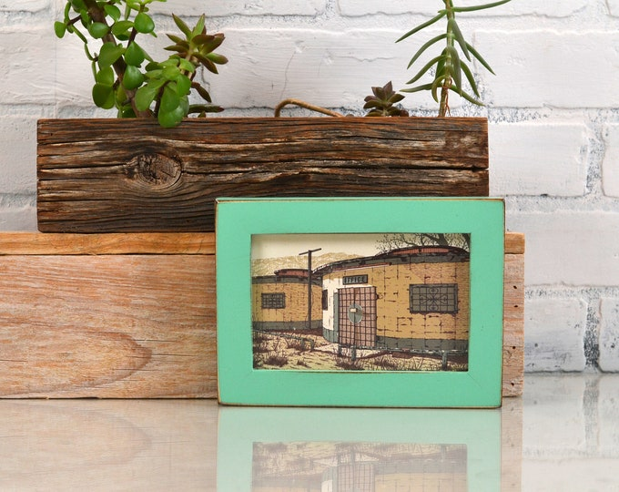 4x6 Picture Frame in 1x1 Flat Style with Vintage Robin's Egg Finish - IN STOCK - Same Day Shipping - 4 x 6 Photo Frame Rustic Green Finish