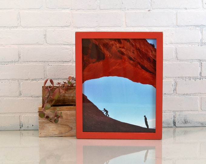 "11x14"" Picture Frame in 1x1 Flat Style with Vintage Red Finish - IN STOCK - Same Day Shipping - Handmade 11 x 14 Solid Hardwood Red Paint"
