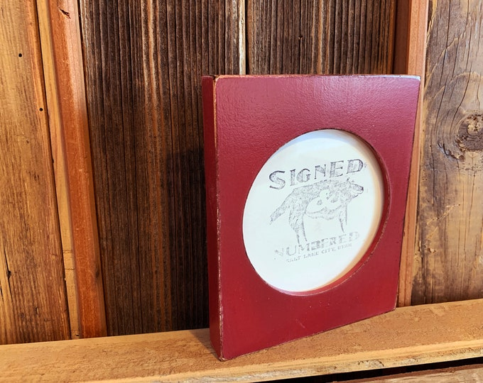 4x4 Pine Circle Opening Picture Frame in Vintage Wine - IN STOCK - Same Day Shipping - 4 x 4 inch Circle Round Red Picture Frame