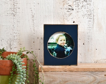 4x4 Pine Circle Opening Picture Frame in Vintage Navy Blue Finish - IN STOCK - Same Day Shipping - 4 x 4 inch Circle Round Picture Frame