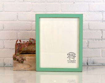 """11x14"""" Picture Frame in 1x1 Flat Style with Vintage Robin's Egg Finish - IN STOCK - Same Day Shipping - Handmade 11 x 14 Solid Hardwood"""