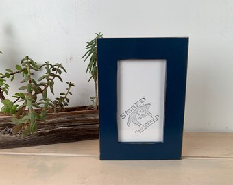 "4x7 Picture Frame in 1.5"" Standard Style with Vintage Navy Blue Finish - IN STOCK - Same Day Shipping - SALE 4 x 7 Photo Frame Dark Blue"