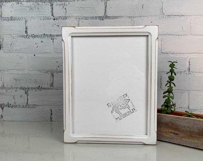 8.5 x 11 Picture Frame in Shallow Bones Style with Vintage White Finish - IN STOCK Same Day Shipping - 8.5x11 Picture Frame White