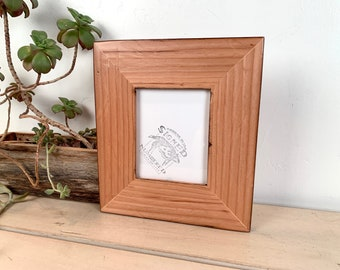 """4x5 Picture Frame - SHIPS TODAY - 2.25"""" Roughsawn Reclaimed Cedar with Burnished Natural Finish - In Stock - Rustic Picture Frame 4 x 5"""""""