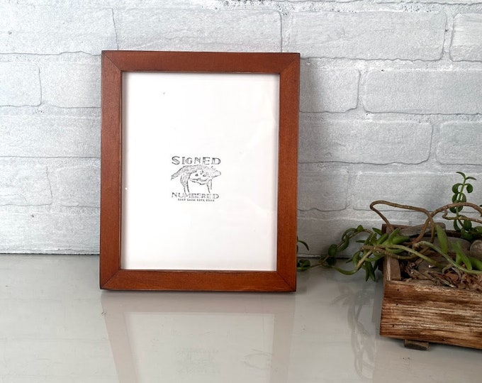 8x10 Picture Frame in 1x1 Flat Style with Vintage Wood Tone Finish - IN STOCK - Same Day Shipping - Rustic Solid Wood Frame 8 x 10