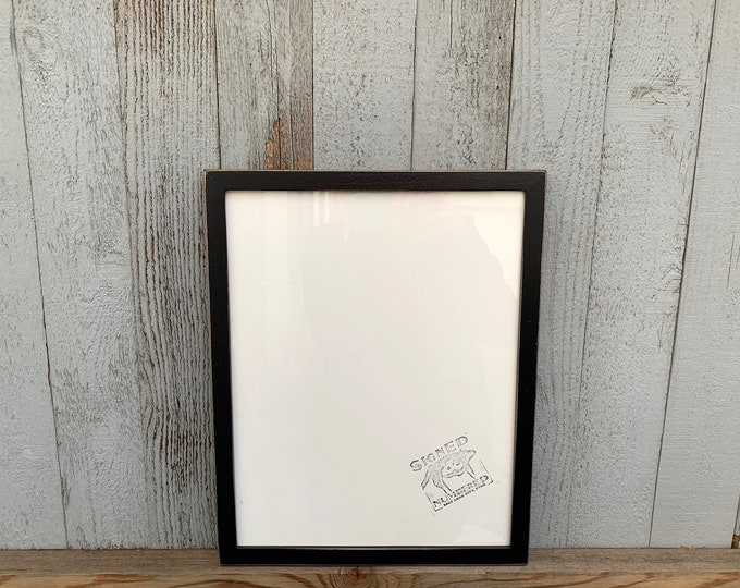 """11x14"""" Picture Frame in Peewee Style with Vintage Black Finish - IN STOCK - Same Day Shipping - Handmade 11 x 14 Solid Hardwood"""