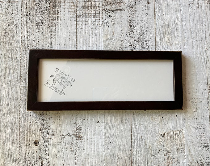 """5x15"""" Picture Frame in 1x1 Flat Style with Vintage Dark Wood Tone Finish - IN STOCK - Same Day Shipping - 15 x 5 Panoramic Photo Frame"""