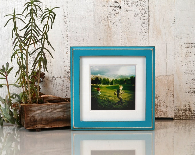 "7x7"" Square Picture Frame in 1x1 Outside Cove Style with Vintage Turquoise Finish - IN STOCK - Same Day Shipping - 7x7 Photo Frame"