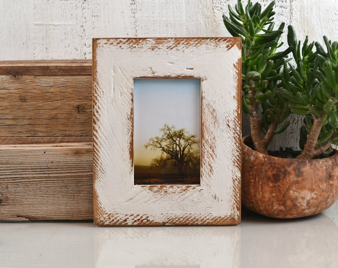 """4x6 Picture Frame 2.25"""" Roughsawn Reclaimed Wood with Super Vintage White Finish - IN STOCK Same Day Shipping - 4 x 6 Rustic Frame"""
