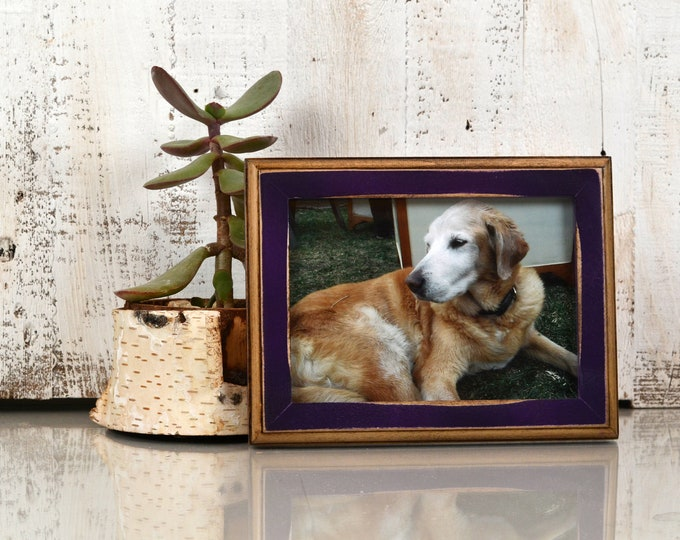 5x7 Picture Frame in 1x1 2-Tone Style with Vintage Deep Purple Finish - IN STOCK - Same Day Shipping - 5 x 7 Frame Solid Hardwood Violet