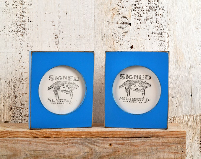 4x4 Pine Circle Opening Picture Frame in Vintage Cobalt Blue Finish - IN STOCK - Same Day Shipping - 4 x 4 inch Circle Round Picture Frame