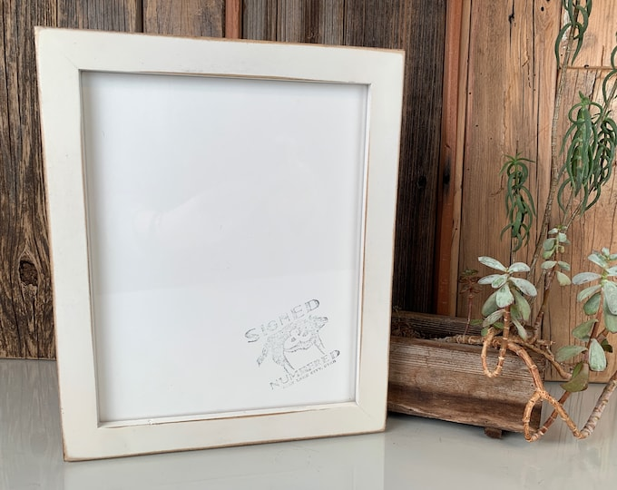 8x10 Picture Frame in 1x1 Flat Style with Vintage White Finish - IN STOCK - Same Day Shipping - Rustic Frame 8 x 10