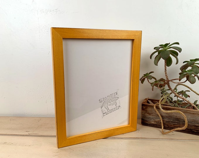 8.5 x 11 Picture Frame in 1x1 Flat Style with Vintage Honey Dye Poplar Finish - IN STOCK Same Day Shipping 8.5x11 inch Picture Frame Yellow