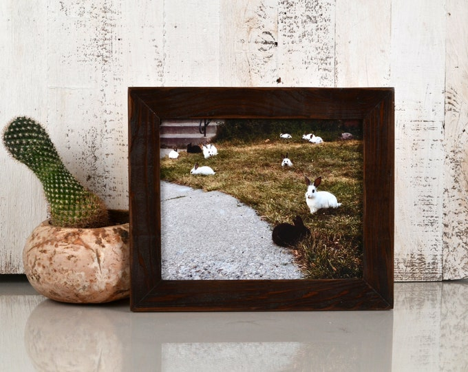 """8x10 Picture Frame in 1.5"""" Reclaimed Cedar with Super Vintage Dark Wood Tone Finish - IN STOCK - Same Day Shipping - 8 x 10 Reclaimed Wood"""