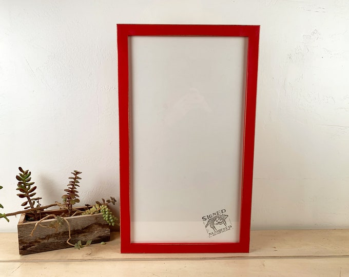 """11x20"""" Picture Frame in 1x1 Flat Style with Vintage Ruby Red Finish - IN STOCK - Same Day Shipping - 12 x 18 Frame Rustic Red"""