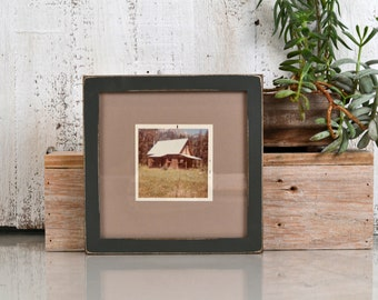 """7x7"""" Square Picture Frame in Peewee Style with Vintage Sable Gray Finish - IN STOCK - Same Day Shipping - 7x7 Photo Frame Rustic Painted"""