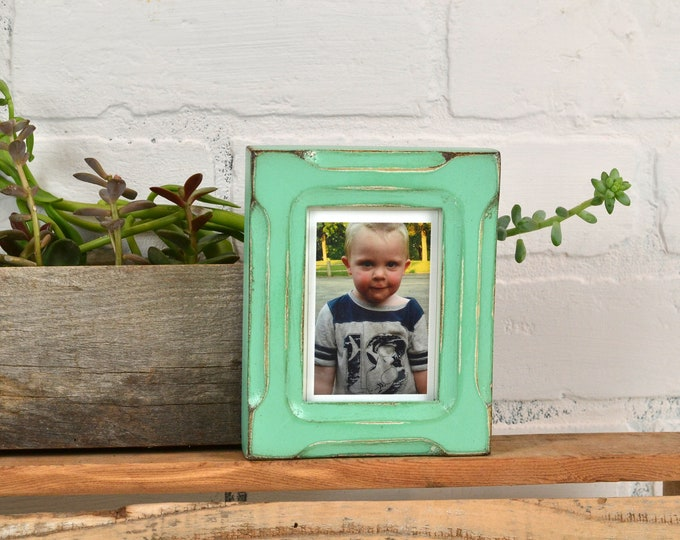 """Wallet Photo Frame 2.5 x 3.5"""" ACEO Card Size in Shallow Bones Style with Vintage Robin's Egg Finish - IN STOCK - Same Day Shipping"""
