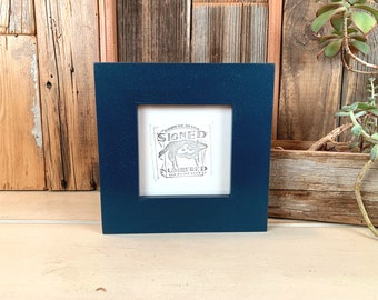 """4x4 Square Picture Frame - SHIPS TODAY - 1.5 inch Standard Style with Solid Navy Blue Finish In Stock - Frame Blue 4x4"""""""
