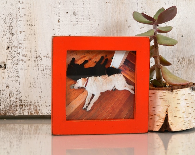 5x5 inch Square Picture Frame in 1x1 Flat Style with Vintage Deep Orange Finish - IN STOCK - Same Day Shipping - 5 x 5 Photo Frame Orange