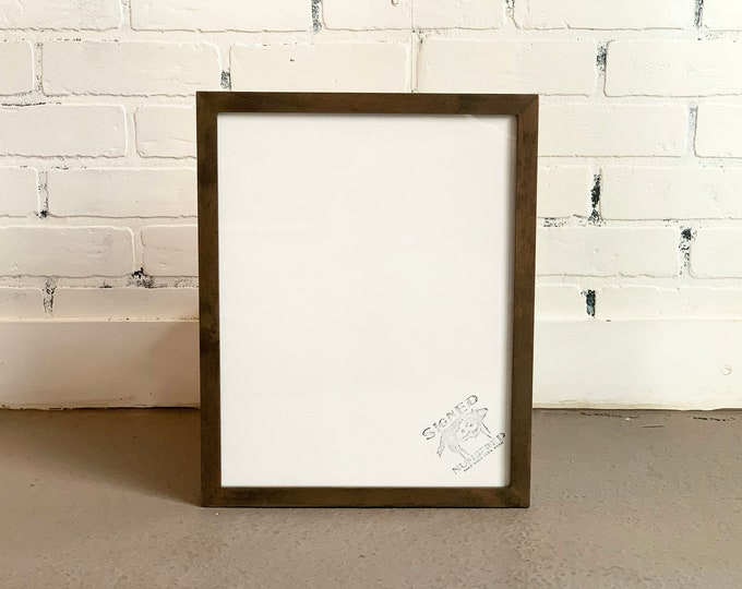 """11x14"""" Picture Frame in Peewee Style on Alder with Gray Wash Finish - IN STOCK - Same Day Shipping - Handmade 11 x 14 Solid Hardwood"""