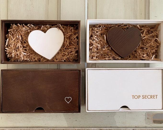 """Valentine's Day Gift Keepsake Box : Includes 5"""" Wooden Heart and Personalized Engraved Storage Box - Handmade Trinket Boxes - FREE SHIPPING"""
