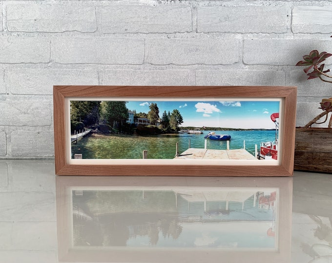 "5x15"" Picture Frame Peewee Style on Solid Cherry Wood with Natural Finish - IN STOCK - Same Day Shipping - 15 x 5 Panoramic Photo Frame"