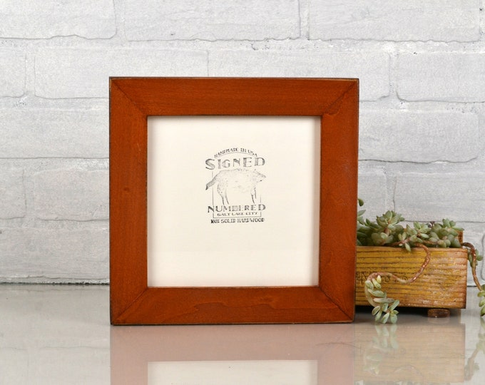 "7x7"" Square Picture Frame in 1.5"" Standard style with Vintage Wood Tone Finish - IN STOCK - Same Day Shipping - 7x7 Photo Frame Brown Wood"