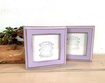 4x4 Square Photo Frame - SHIPS TODAY - 1x1 Outside Cove Style with Vintage Lilac Finish - In Stock - 4 x 4 Photo Frames Purple