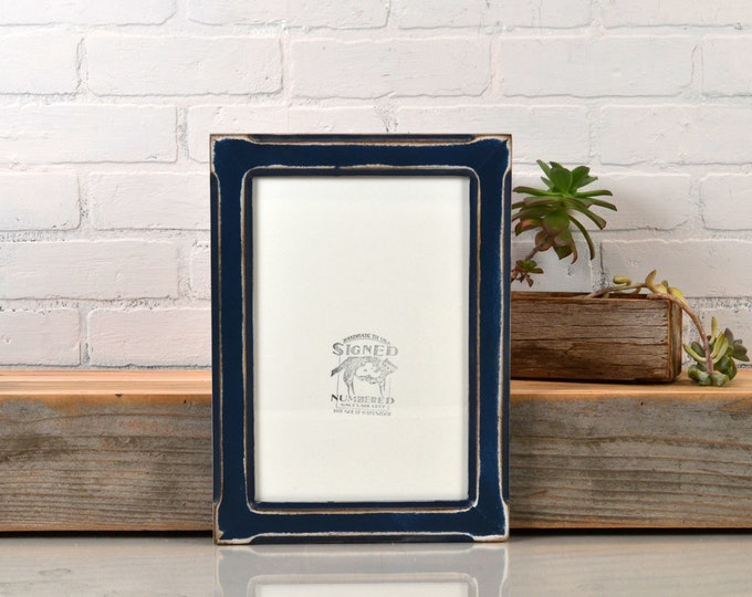 8x12 Picture Frame in Wide Bones Style with Super Vintage Navy Blue Finish - IN STOCK Same Day Shipping - Handmade Classic 8 x 12 Frame