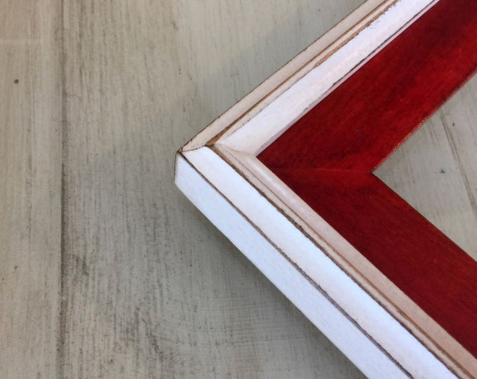 Vintage Color of Your Choice in White Build Up Style - Choose your frame size 3x3 up to 11x14 / 12.5x12.5 inches - FREE SHIPPING - 2 Color