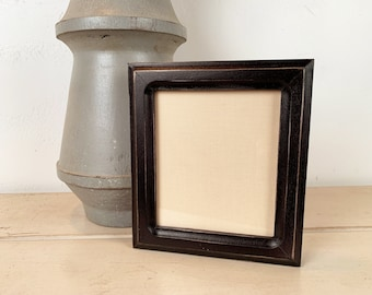 Picture Frame for Instant Camera Print in Double Cove Style with Vintage Black Finish 4.75x5.5 inch Frame - IN STOCK - Same Day Shipping