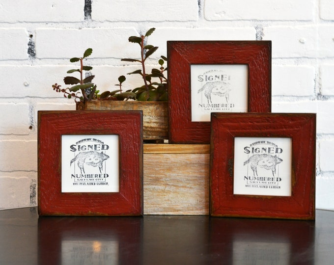 4x4 Reclaimed Wood Picture Frame with Super Vintage Brick Red Finish - IN STOCK - Same Day Shipping - 4 x 4 Upcycled Cedar Frame Red