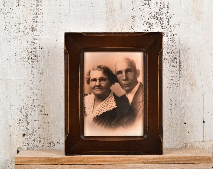 "5x7"" Picture Frame in Wide Bones Style with Vintage Dark Wood Tone Finish - IN STOCK - Same Day Shipping - 5 x 7 Photo Frame"